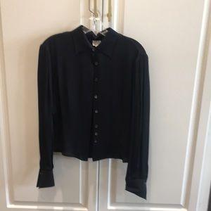 Black long sleeve Armani top with back pleats